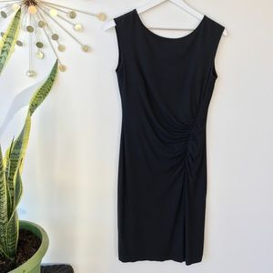 Ann Taylor black ruched sleeveless dress size XS